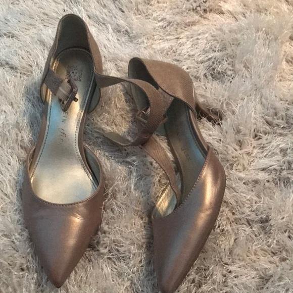 bb6300bbb9 Anne Klein Shoes | Metallic Strappy Kitten Heel Pumps | Poshmark